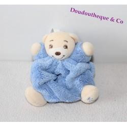 Mini doudou ours KALOO bleu plume attache tétine 12 cm