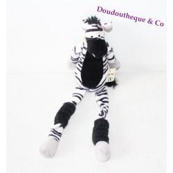 Peluche Algèbre le zèbre LES PETITES MARIE Jungle noir et blanc 29 cm