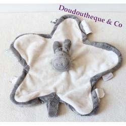 Doudou plat âne Paco NOUKIE'S Poudre d'étoiles 34 cm Paco gris blanc étoile