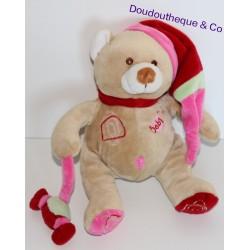 Doudou ours BABY NAT bonbon à la main 17 cm