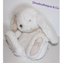 Peluche Augustin Lapin TARTINE ET CHOCOLAT blanc écru 35 cm