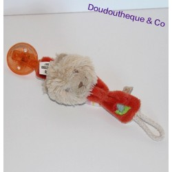 Attache tétine chat Fidji NOUKIE'S orange escargot brodé 21 cm