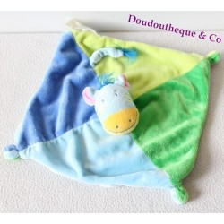 Doudou plat zèbre carré bleu vert cheval âne 24 cm