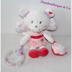 Doudou ours POMMETTE papillon ailes anneau rose violet Intermarché 23 cm