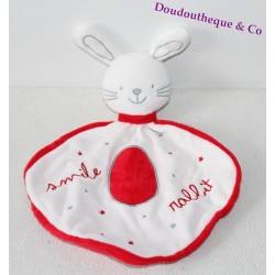 Doudou plat lapin JEMINI Smile Rabbit rouge blanc 32 cm