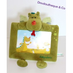 Cadre photo peluche Walter le dragon LILLIPUTIENS vert 25 cm
