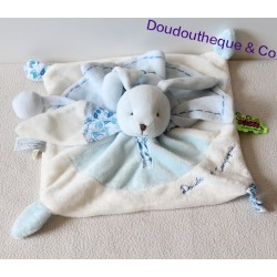 Doudou flat Bunny BLANKIE and company Tatoo blue and white 26 cm