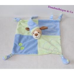 Doudou plat chien GIPSY bleu vert feuille 2 nœuds 2 pattes marionnette
