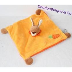 Doudou plat Lapin SOFT FRIENDS orange carotte 27 cm