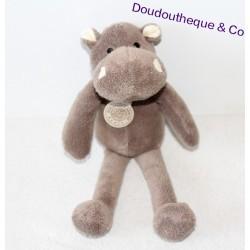 Doudou Hippopotame ROLAND GARROS BNP marron 23 cm