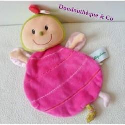 Doudou plat Liz Coccinelle LILLIPUTIENS rose rouge marionnette