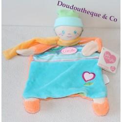 Doudou marionnette poupèe  COROLLE bleu orange 26 cm