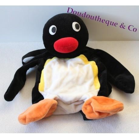 Sac à Dos Peluche Pingu Le Pingouin Creaprim Noir 40 Cm Sos Doudou