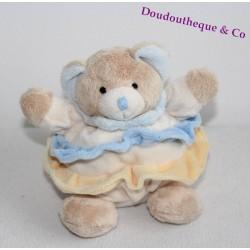 Peluche ours BABY NAT' boule volants bleu jaune 17 cm