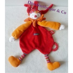 Doudou plat Capucin Dragobert MOULIN ROTY clown Dragobert anneau 35 cm