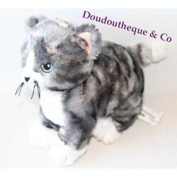 Plush cat IKEA gray white striped Lilleplutt 24 cm blue eyes