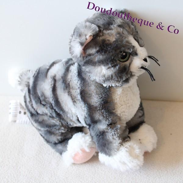 peluche chat ikea lilleplutt ray gris blanc yeux bleus 24 cm sos. Black Bedroom Furniture Sets. Home Design Ideas
