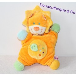 Doudou semi plat lion POMMETTE 26cm orange