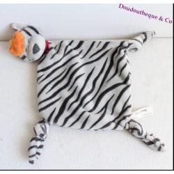 Doudou plat chat tigré CARREBLANC gris noir béret orange 40 cm