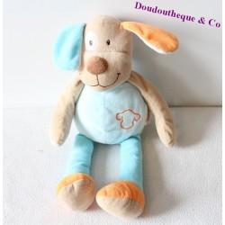 Doudou chien DOUKIDOU tête brodée bleu et orange 40 cm