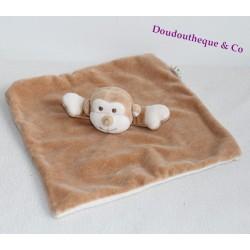 Doudou plat singe MY NATURAL beige blanc coton bio 24 cm