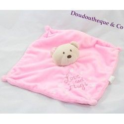 Teddy bear flat comforter BABY HUGS pink love and hugs