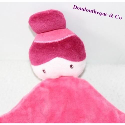 Doudou plat poupée SUCRE D'ORGE fille chignon rose 23 cm - SOS doudou