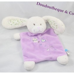 Doudou flat rabbit TEX BABY Crossroads purple purple bird heart flowers 27 cm