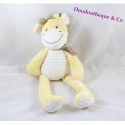 Doudou giraffe NICOTOY yellow scarf grey stripes 40 cm