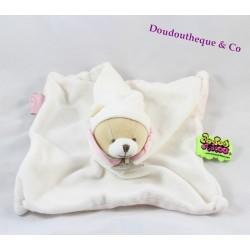 Doudou plat ours DOUDOU ET COMPAGNIE Tatoo carré rose blanc rayures 21 cm