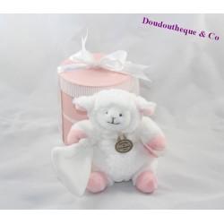 Doudou mouton agneau DOUDOU ET COMPAGNIE mouchoir blanc et rose