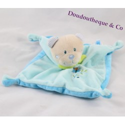 Bear flat Doudou TEX blue butterfly BABY 18 cm square knots