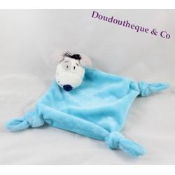 Doudou plat chien CARRE BLANC losange bleu noeuds