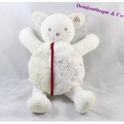 Doudou cat Teddy White Bird embroidered 28 cm