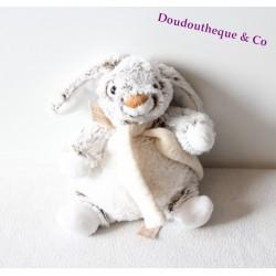 Doudou lapin RODADOU RODA noir blanc écharpe beige 20 cm