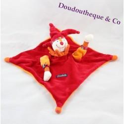 Doudou plat Capucin Dragobert MOULIN ROTY clown arlequin rouge orange