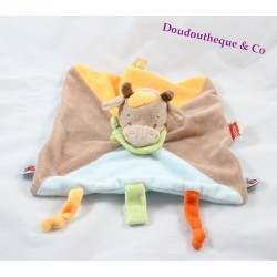 Doudou plat Vache NATTOU orange marron bleu