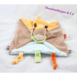 Doudou plat Vache NATTOU Little Garden marron bleu orange foulard vert 25 cm