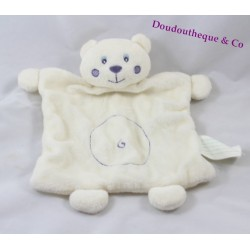 Bear flat Doudou KIMBALOO white square spiral round belly 24 cm