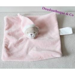 Doudou plat ours KIMBALOO dormeur carré rose 22 cm