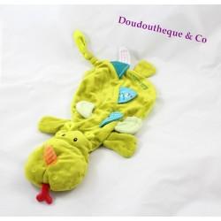 Doudou plat Walter le dragon LILLIPUTIENS marionnette vert 40 cm