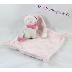 Doudou flat mouse NICOTOY CAP and handkerchief pink