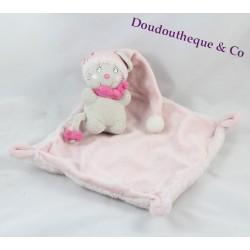 Doudou plat souris NICOTOY bonnet et mouchoir rose