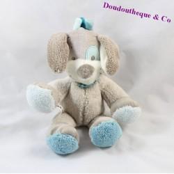 Doudou chien NATTOU Gaston et Cyril gris cocard bleu 20 cm