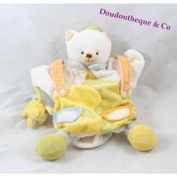 Doudou marionnette chat DOUDOU ET COMPAGNIE souris blanc jaune 25 cm