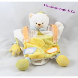 Doudou puppet cat Don and company white yellow mouse 25 cm