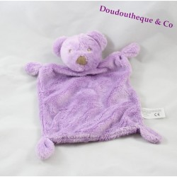 Doudou plat ours SIMBA TOYS Benelux violet rectangle Nicotoy 26 cm