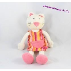 Doudou cat BABYSUN pink striped dress orange Pocket Bell 26 cm