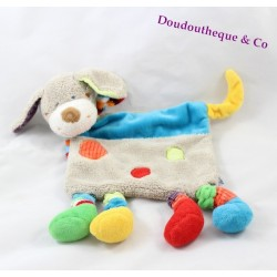 Doudou plat Chien MOTS D'ENFANTS LECLERC gris ronds multicolores