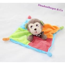 Doudou plat singe NICOTOY multicolore carré pois 20 cm